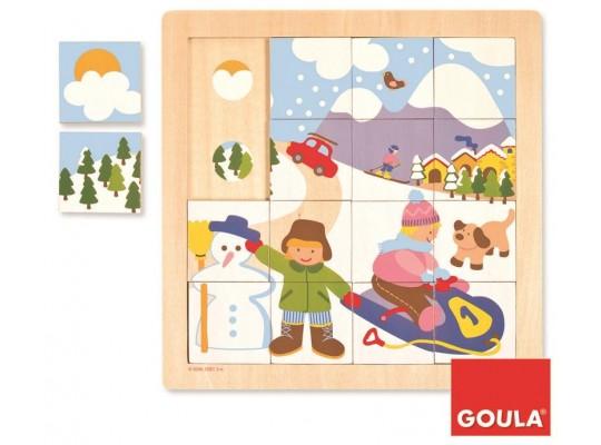 Puzzle dřevěné-roční období  zima
