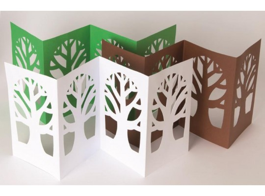 Leporelo z papíru strom-hnědé