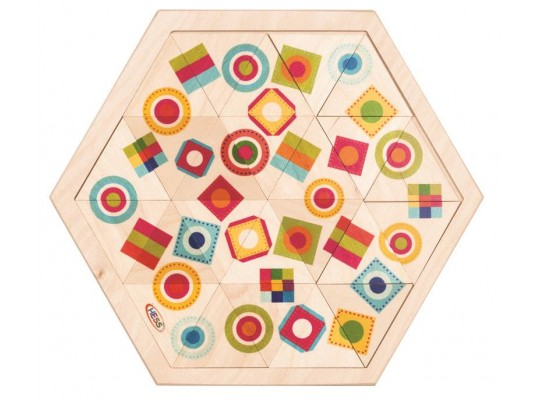Skládanka dřevěná šestiúhelník tvary