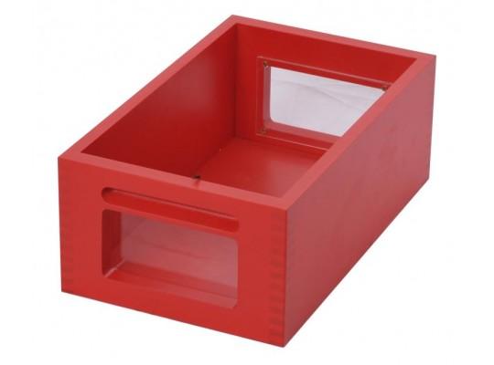 Kontejner dřevěný okénko-červený