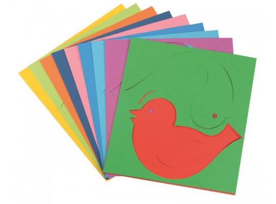 Ptáček z papíru barevný-obrys