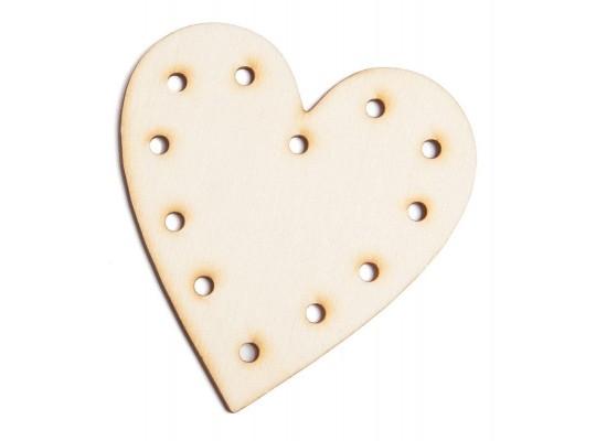 Dřevěný tvar k provlékání - Srdce