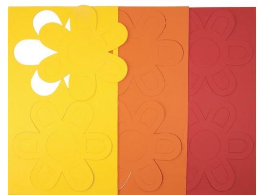 Květina z papíru obrys barevná sada