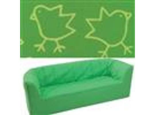 """Trojkřeslo - mikroplyš """"Kuřátka"""" - zelená"""