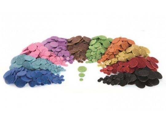 Pěnovka moosgummi samolepicí-kolečka třpytivá barevná