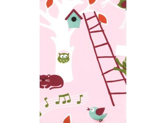 Látka bavlna-potahová-ptáček-růžová