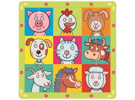 Puzzle dřevěné-hlavičky zvířecí