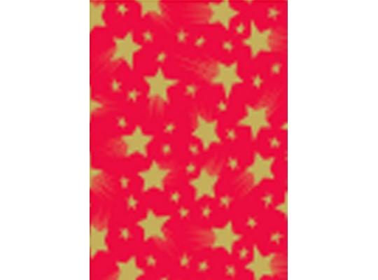 Papír transparentní 20x52cm- hvězdy červený