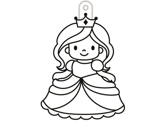 Sklíčko závěsné s konturou-princezna