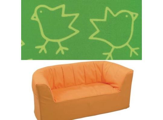 """Dvojkřeslo - mikroplyš """"Kuřátka"""" - zelená"""