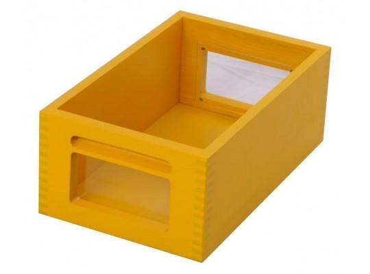 Kontejner dřevěný okénko-žlutý