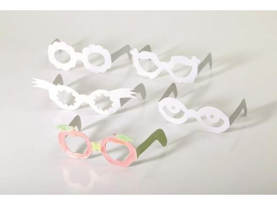 Brýle z papíru karneval bílé-sada