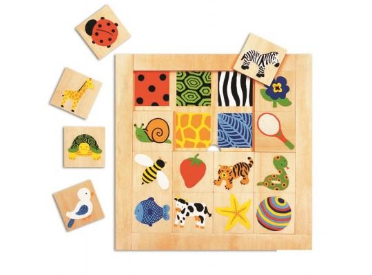 Puzzle dřevěné strukturované