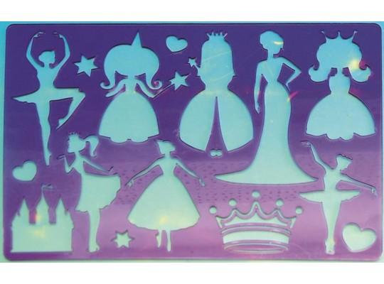 Šablona z průhledného plastu-princezny