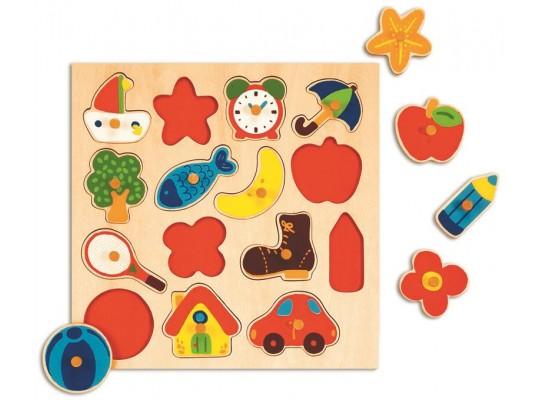 Puzzle dřevěné s úchyty-tvary