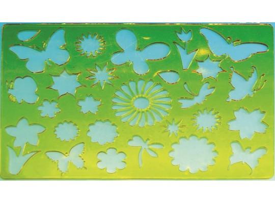 Šablona z průhledného plastu-motýli
