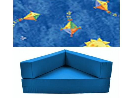 """Relaxační sedací kout rozkládací - mikroplyš  """"Pestrý drak""""- modrá"""