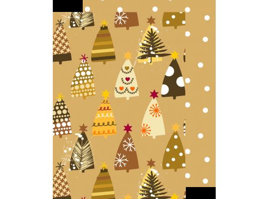 Fotokarton vánoční-stromy zlaté