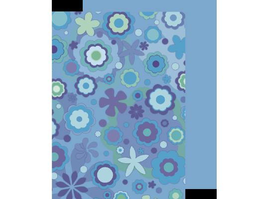 Fotokarton rozkvetlá louka-modrý