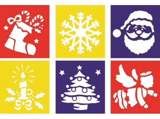 Šablona-z plastu-barevná-Vánoce-6ks