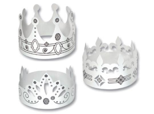 Koruna královská z papíru-bílá
