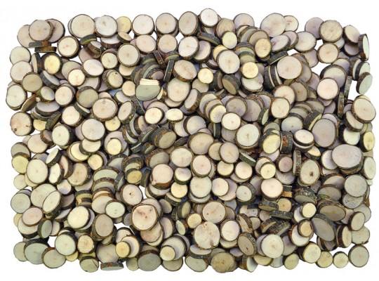 Plátky dřevěné s kůrou-kolečko