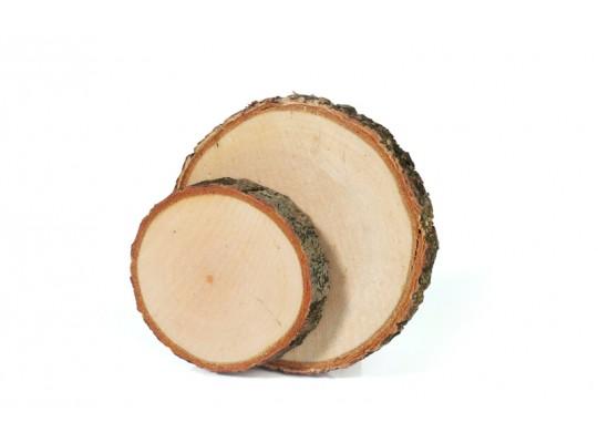 Plátky dřevěné s kůrou-kruh