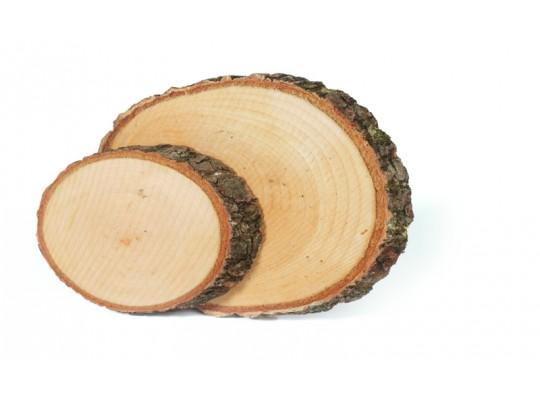 Plátky dřevěné s kůrou-ovál