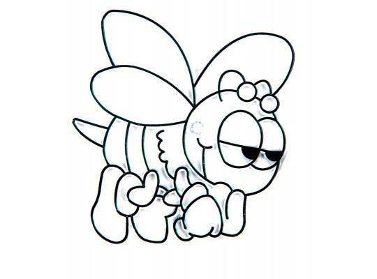 Sklíčko závěsné s konturou-včelka