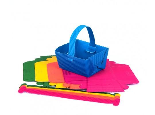 Košíček z lepenky vlnité- barevný