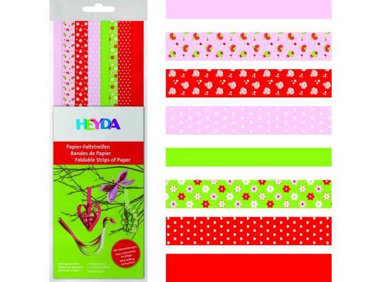 Proužky z papíru proplétací-červené, růžové, zelené