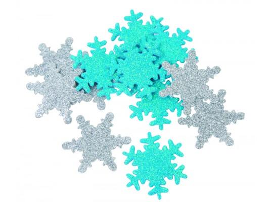 Pěnovka moosgummi samolepicí-vločka sněhová třpytivá