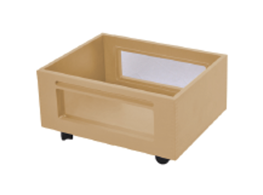 Kontejner dřevěný kolečka/okénko-přírodní