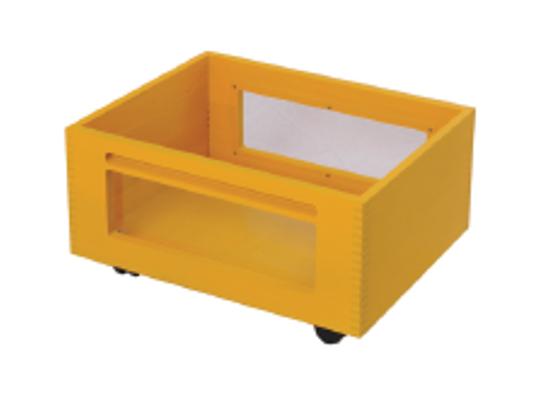 Kontejner dřevěný kolečka/okénko-žlutý