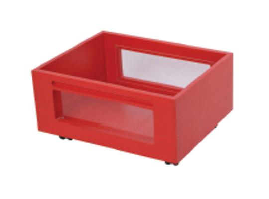 Kontejner dřevěný kolečka/okénko-červený