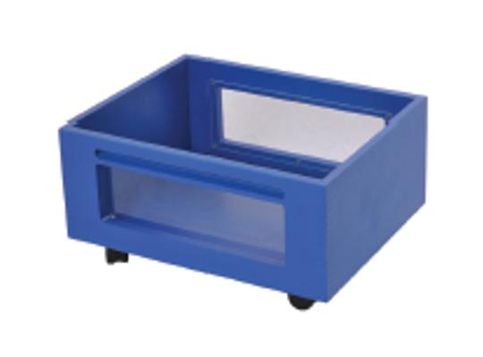 Kontejner dřevěný kolečka/okénko-modrý