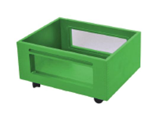 Kontejner dřevěný kolečka/okénko-zelený