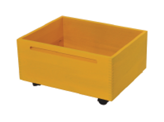 Kontejner dřevěný kolečka-žlutý