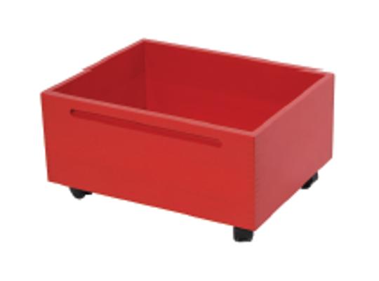 Kontejner dřevěný kolečka-červený