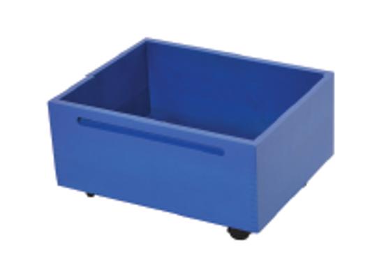 Kontejner dřevěný kolečka-modrý