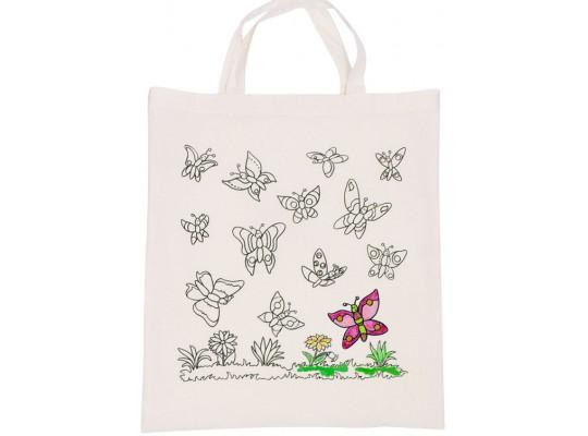 Látková taška s konturou-motýl