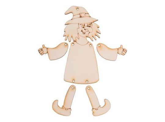 Figurka dřevěná pohyblivá čarodějnice