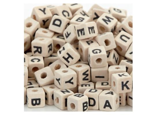 Korálky navlékací dřevěné-písmena