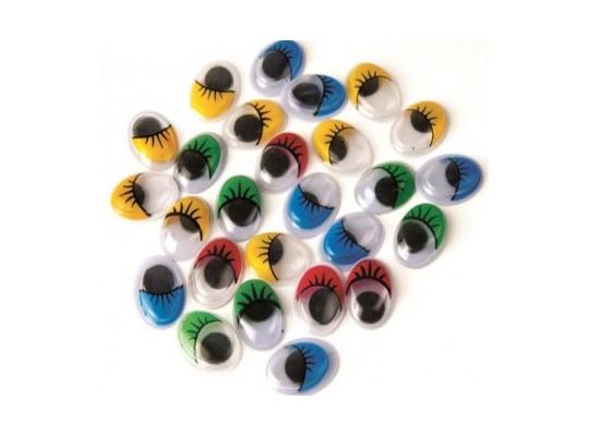 Oči dekorační oválné-řasy