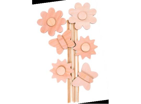 Zápichy dřevěné-motýl a květina
