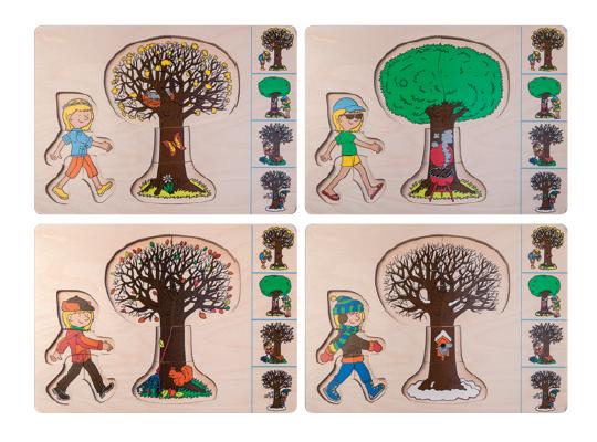 Puzzle dřevěné vícevrstvé strom/roční období