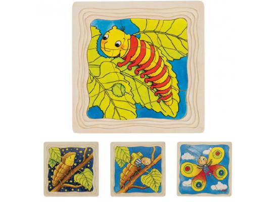 Puzzle dřevěné vícevrstvé vývojové-motýl