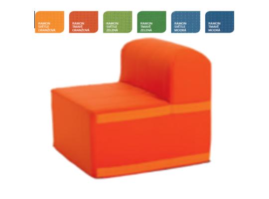 Sedací souprava velká čtvercová část s opěradlem Ramon-tmavě oranžová