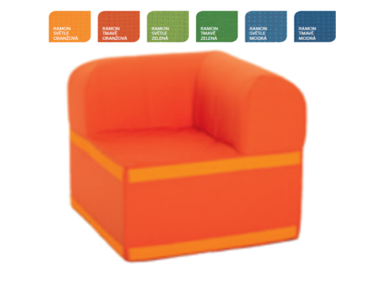 Sedací souprava velká rohová část čtvercová s opěradlem Ramon-světle oranžová