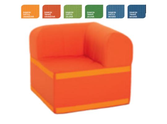 Sedací souprava velká rohová část čtvercová s opěradlem Ramon-tmavě oranžová
